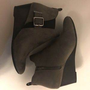 Anne Klein suede wedge booties